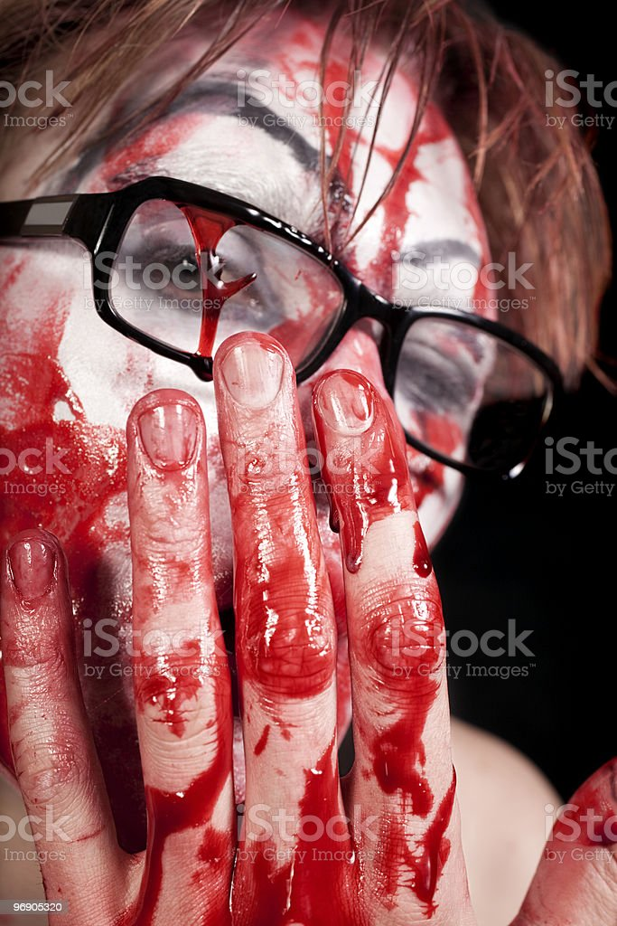 mime in glasses with blood royalty-free stock photo