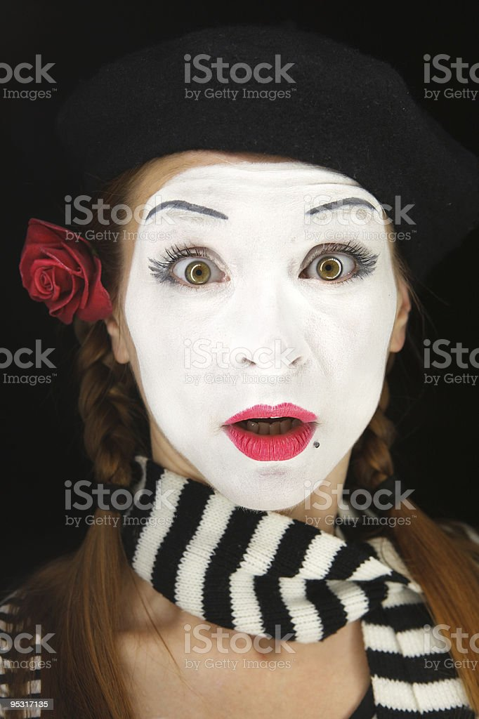 Mime portrait with surprised face expression royalty-free stock photo