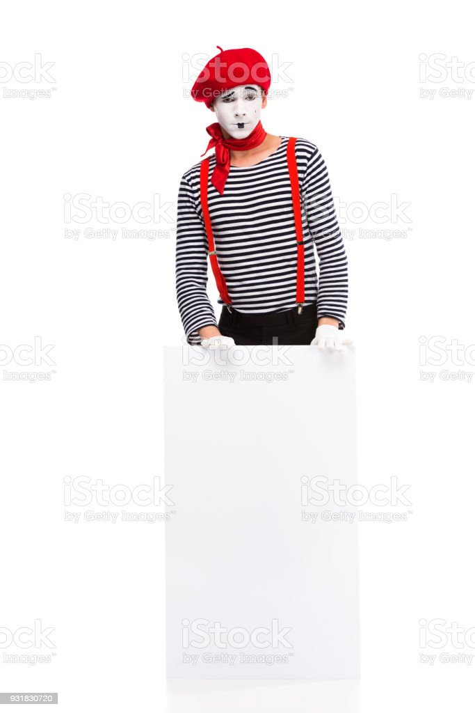 mime standing with empty board isolated on white stock photo