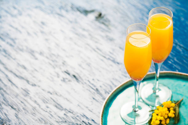 Mimosa cocktail stock photo