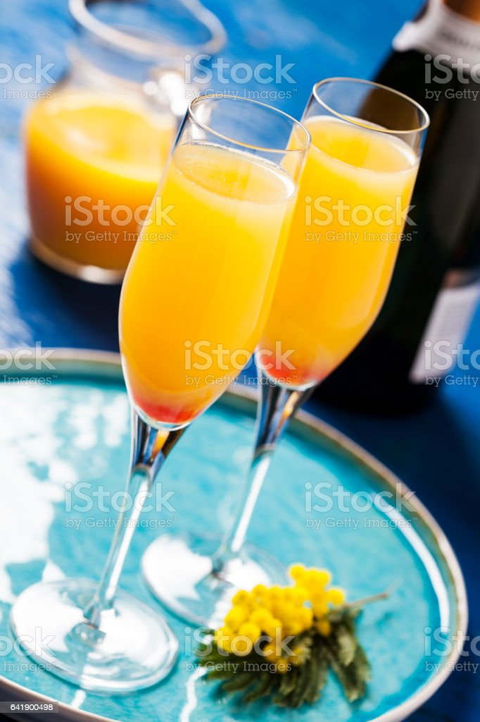 Mimosa cocktail stock photo