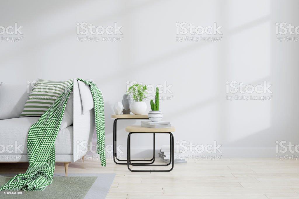 3d Woonkamer Ontwerpen : Minamalist interieur van woonkamer ontwerp groene concept witte