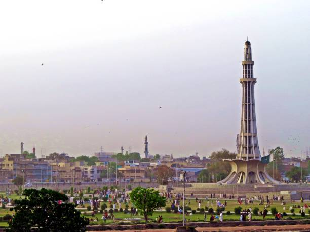 monument Minar-e-Pakistan, Lahore, Pakistan Minar-e-Pakistan is a public monument located in, adjacent to the Walled City of Lahore, in the Pakistani province of Punjab. The tower was constructed during the 1960s site where the All-India Muslim League passed the Lahore Resolution on 23 March 1940. lahore pakistan stock pictures, royalty-free photos & images