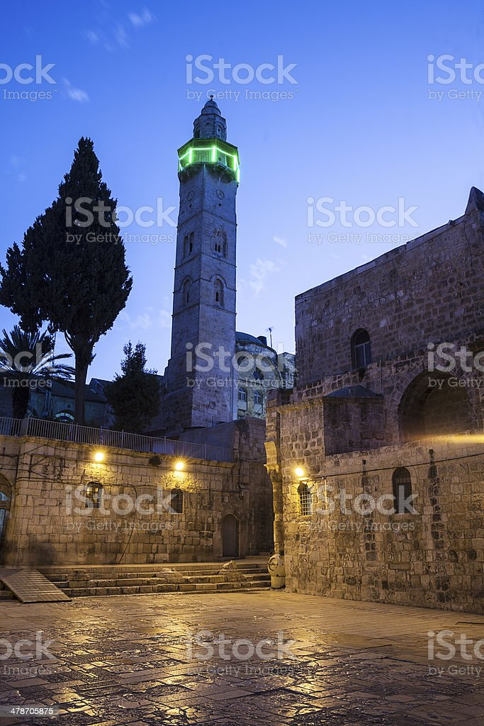 Minaret At Night stock photo