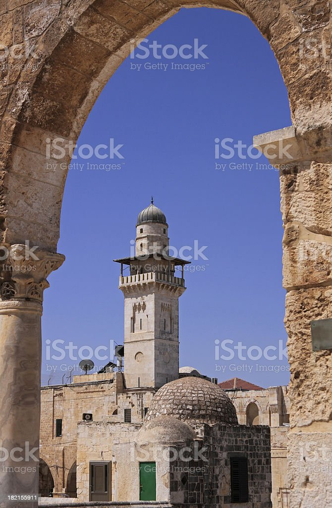 Minaret in Jerusalem Old City royalty-free stock photo