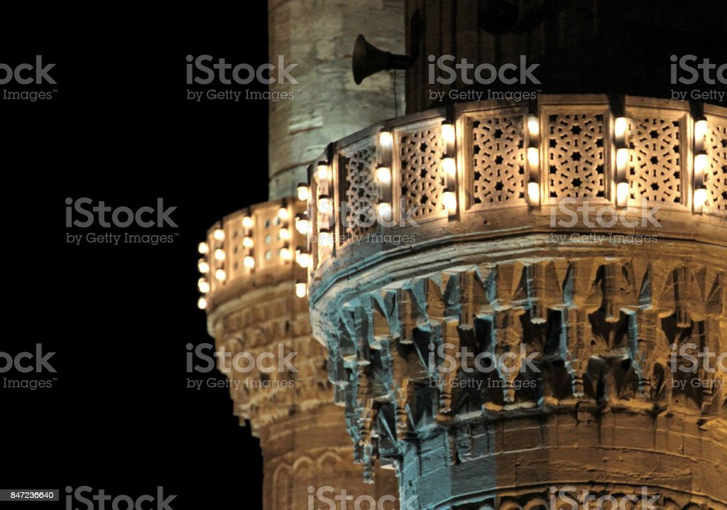 Minaret lights of the Blue Mosque, Istanbul stock photo