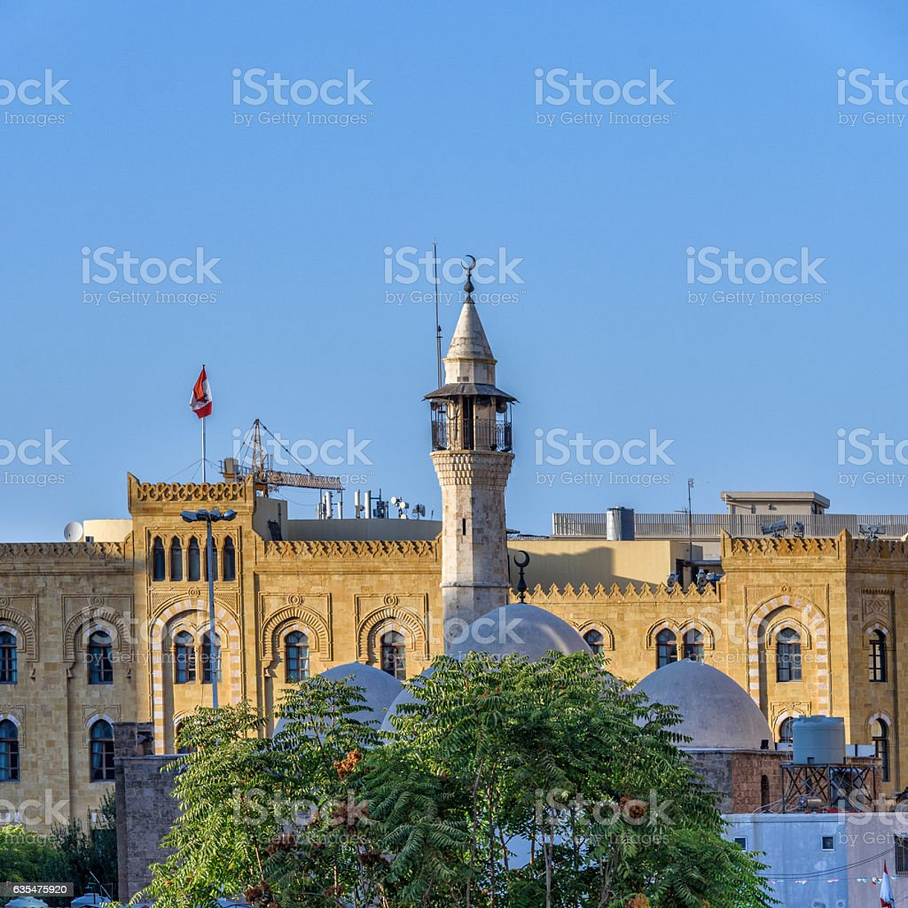 Minaret of an ancient mosque in Beirut stock photo