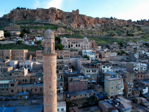 Minaret of Grans (Ulu) Mosque in Mardin, Turkey stock photo