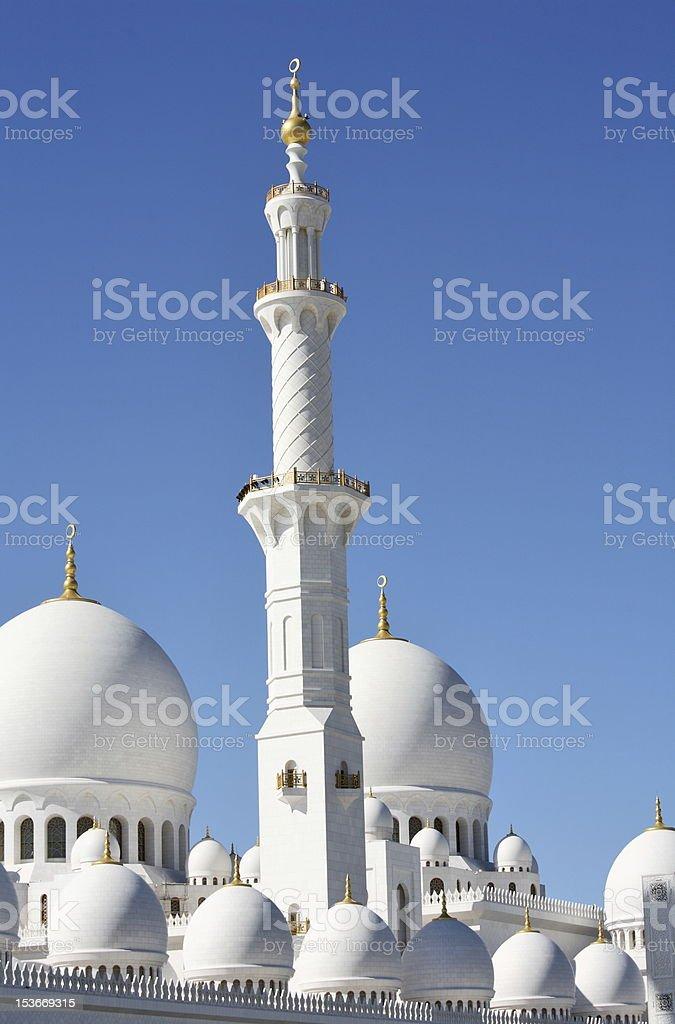 Minaret of Sheikh Zayed Mosque in Abu Dhabi royalty-free stock photo