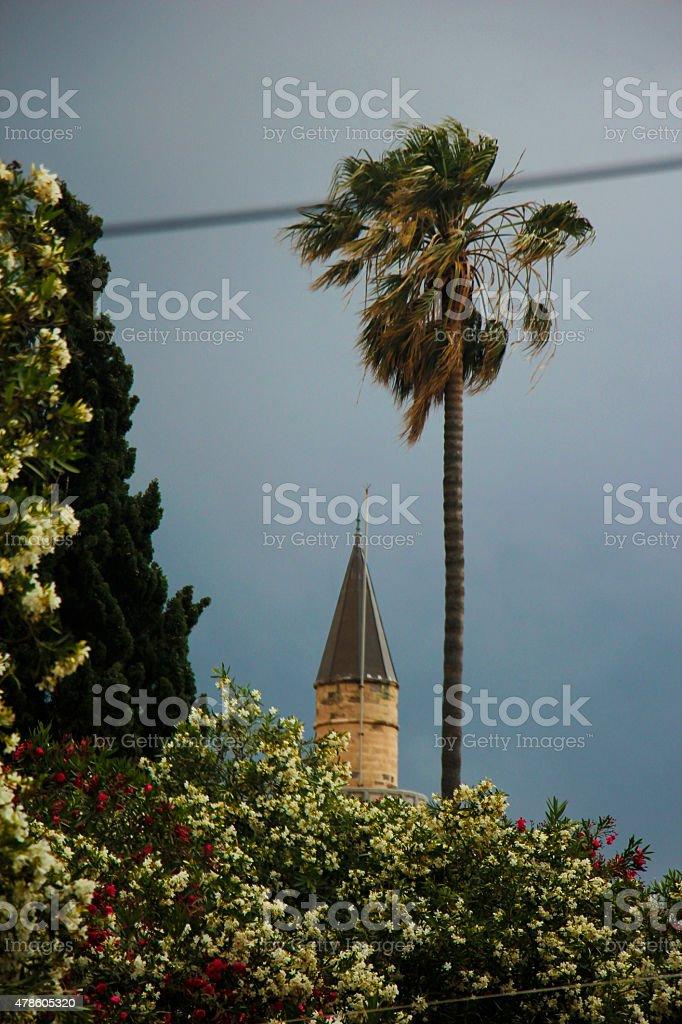 Minaret tower in Kos city on a rainy day stock photo
