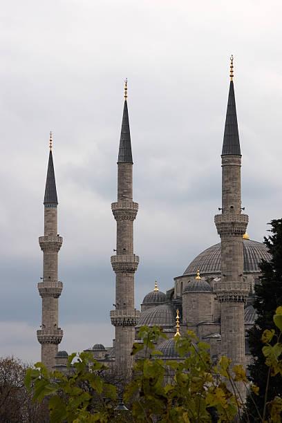 첨탑 블루 모스크 스톡 사진