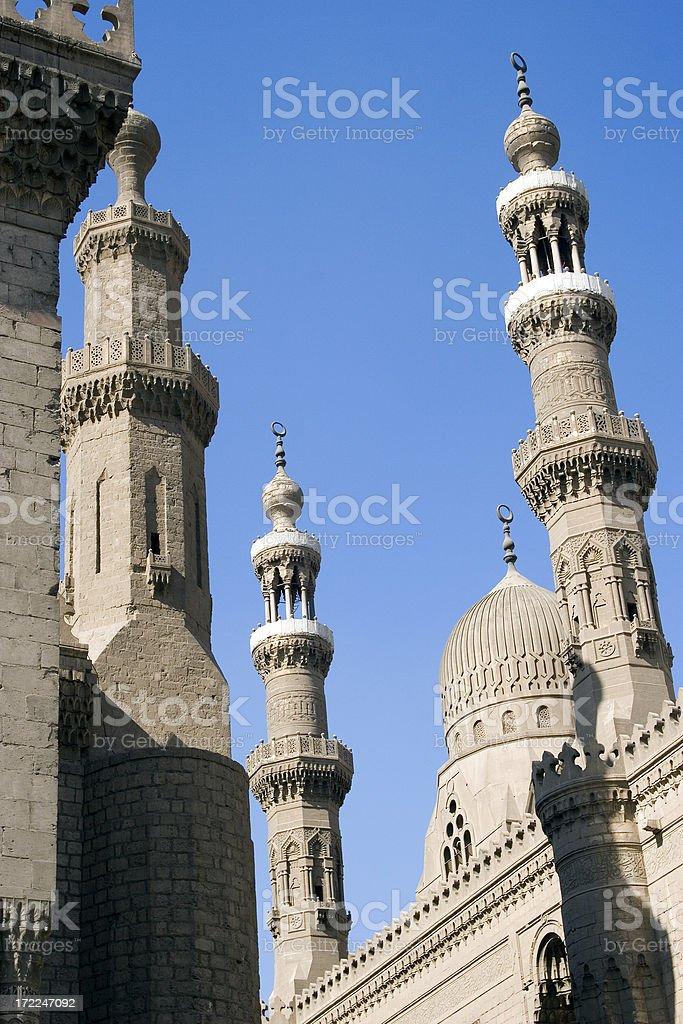Minarets of the Al-Azhar Mosque, Cairo, Egypt royalty-free stock photo