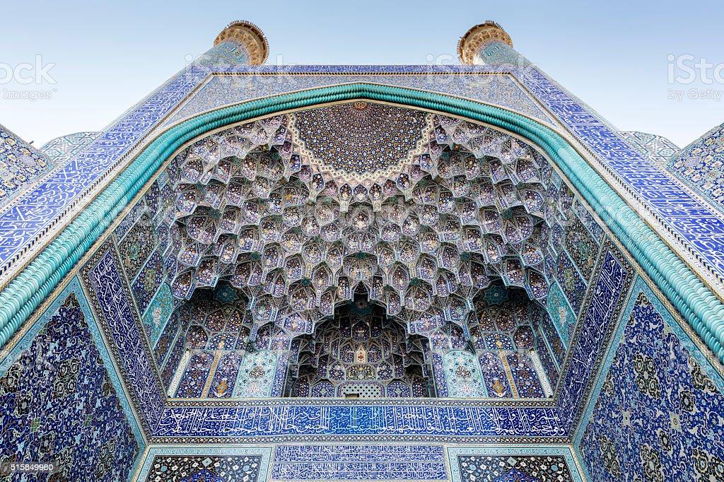 Minarets, pishtek, and pendentive decorated arch, Emam Mosque, Isfahan, Iran stock photo