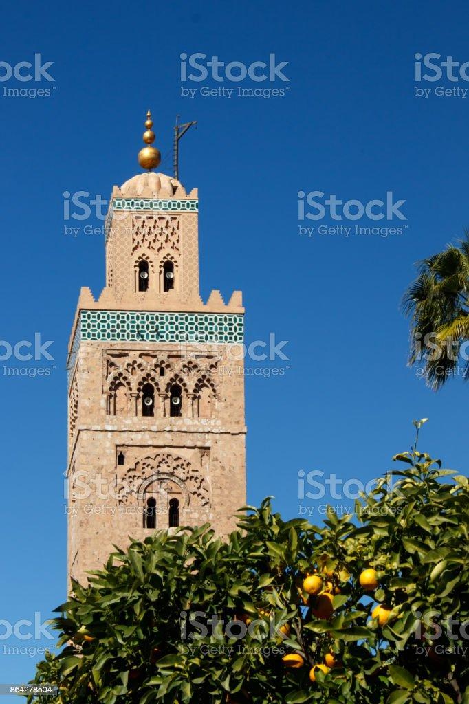 Minarett of the Koutoubia-mosque in Marrakesh royalty-free stock photo