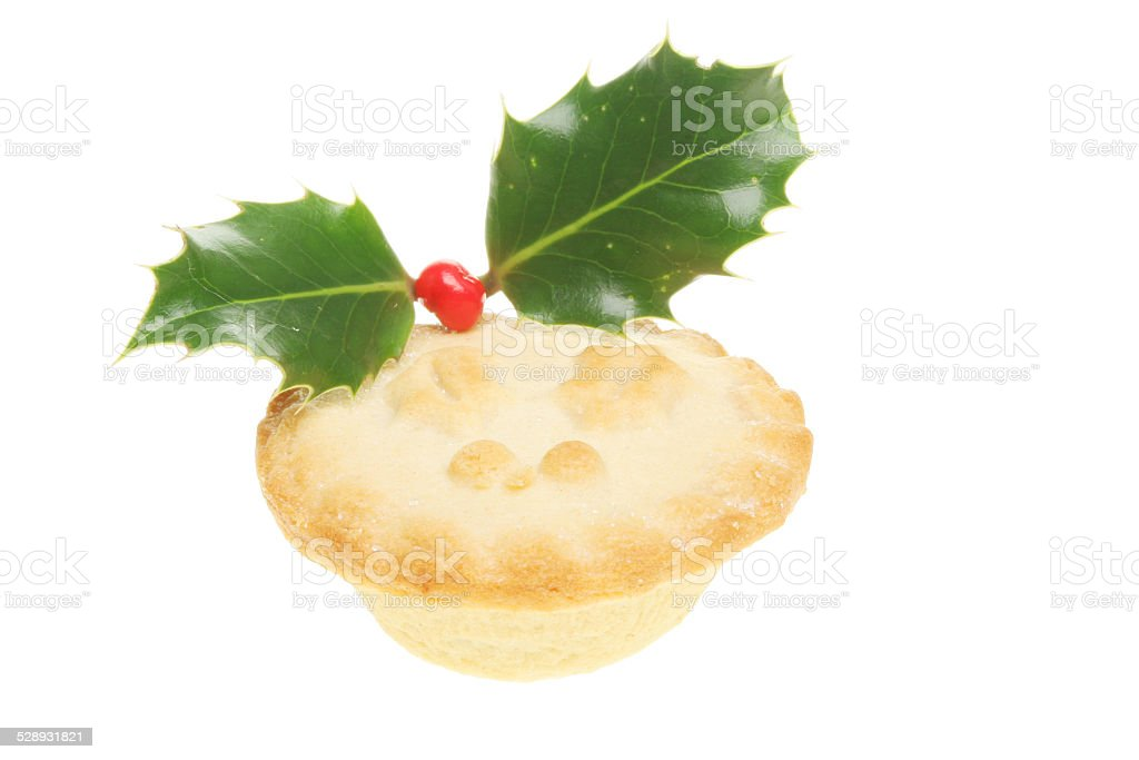 Mince pie decorated with holly stock photo