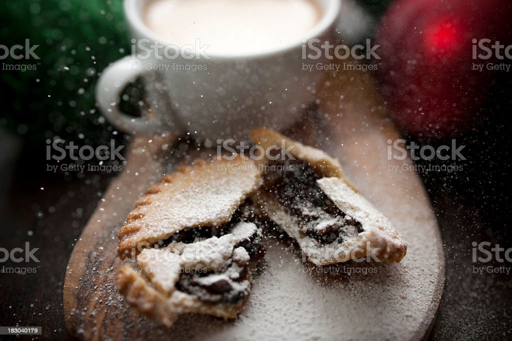 Mince pie with simulated snow stock photo