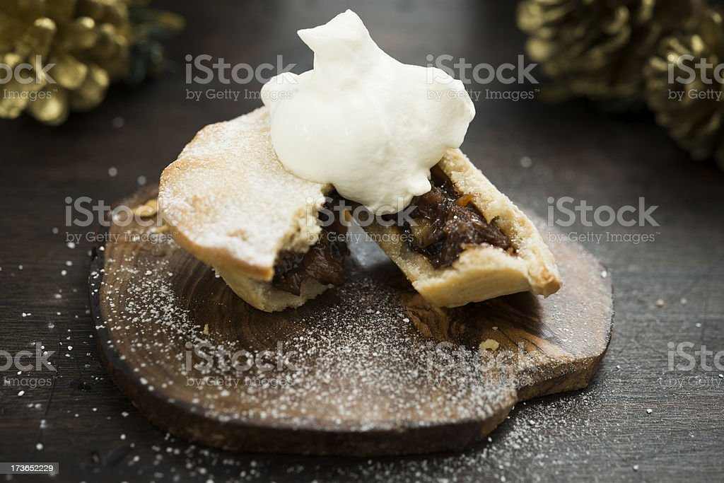 Mince pie with Whipped Cream stock photo