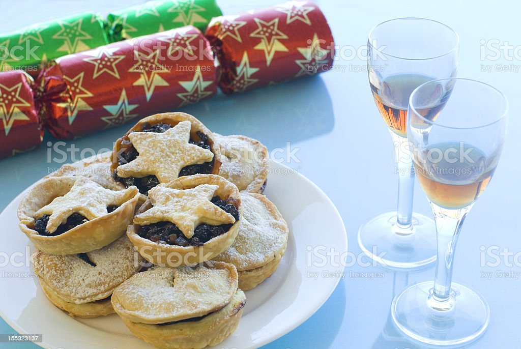 Mince pies and Sherry stock photo