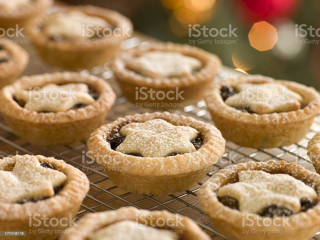 Mince Pies on a Cooling Rack stock photo