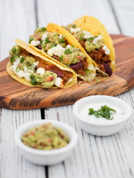 minced beef tacos stock photo
