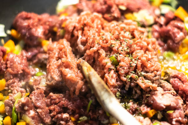Minced meat cooking stock photo