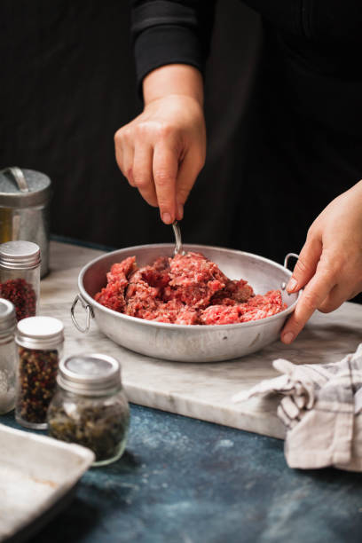 Minced meat food stock photo
