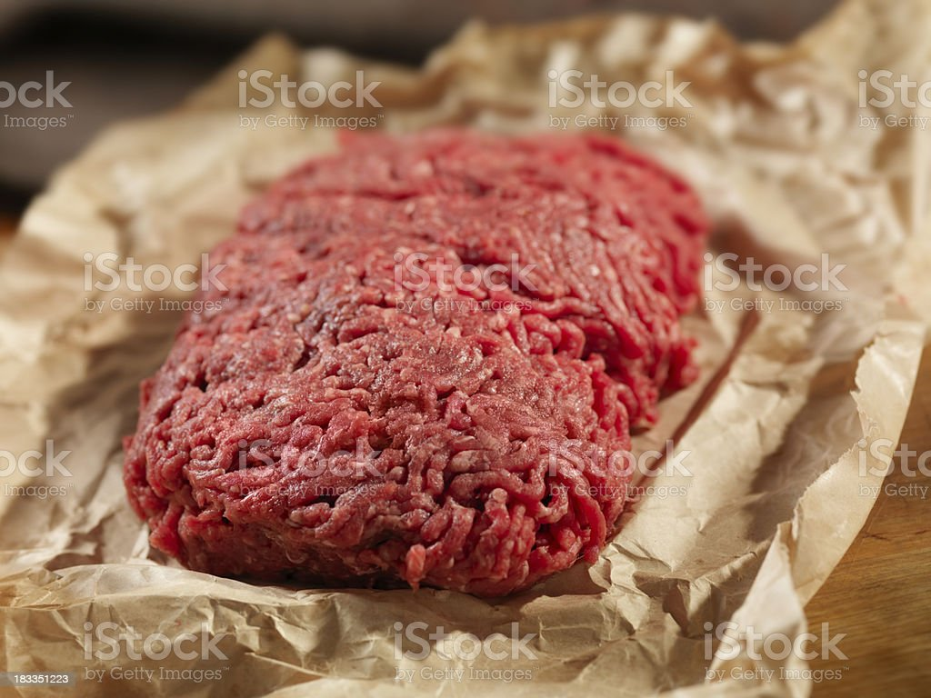 Minced Meat in Butcher Paper stock photo