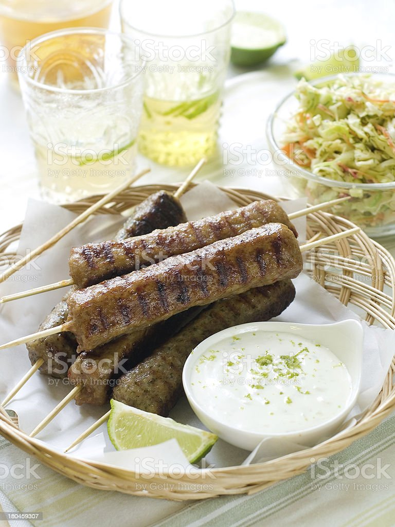 Minced meat kebab royalty-free stock photo