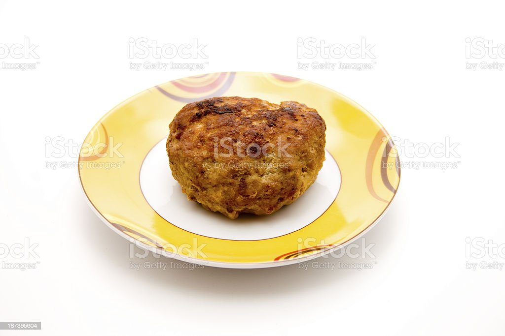Minced meat roasted on plate stock photo