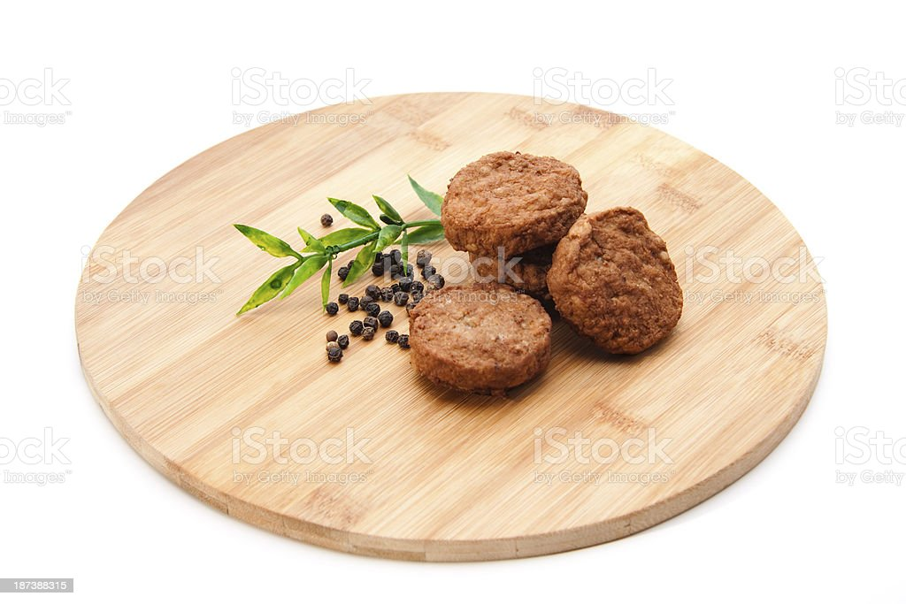 Minced meat small ball roasted on wooden plate stock photo