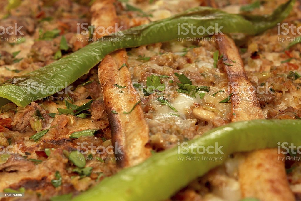 minced meat small pizzas stock photo