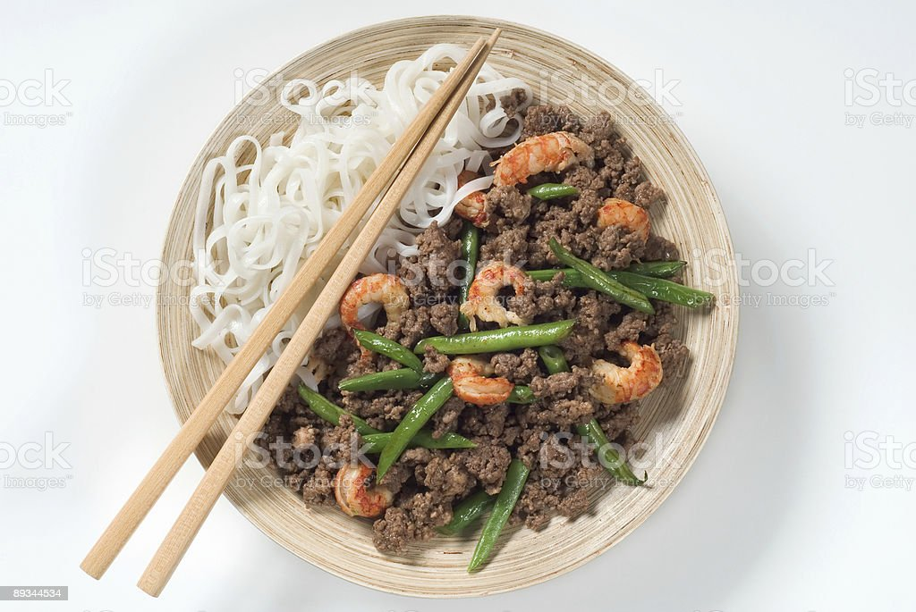 Minced meat with prawns, string beans and noodles royalty-free stock photo