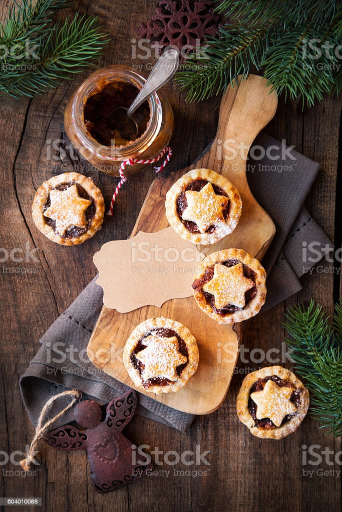 Mincemeat pies for Christmas stock photo