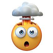 istock Mind blown emoji, exploding head emoticon on white background, 3d rendering 1319947943