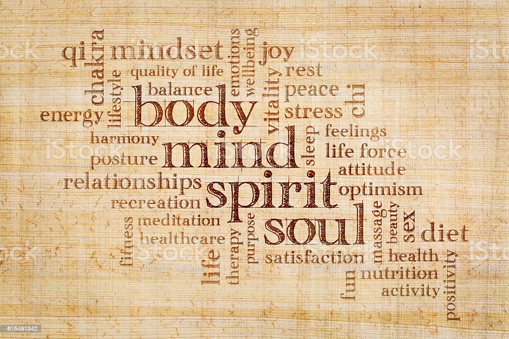 mind, body, spirit and soul word cloud - foto stock