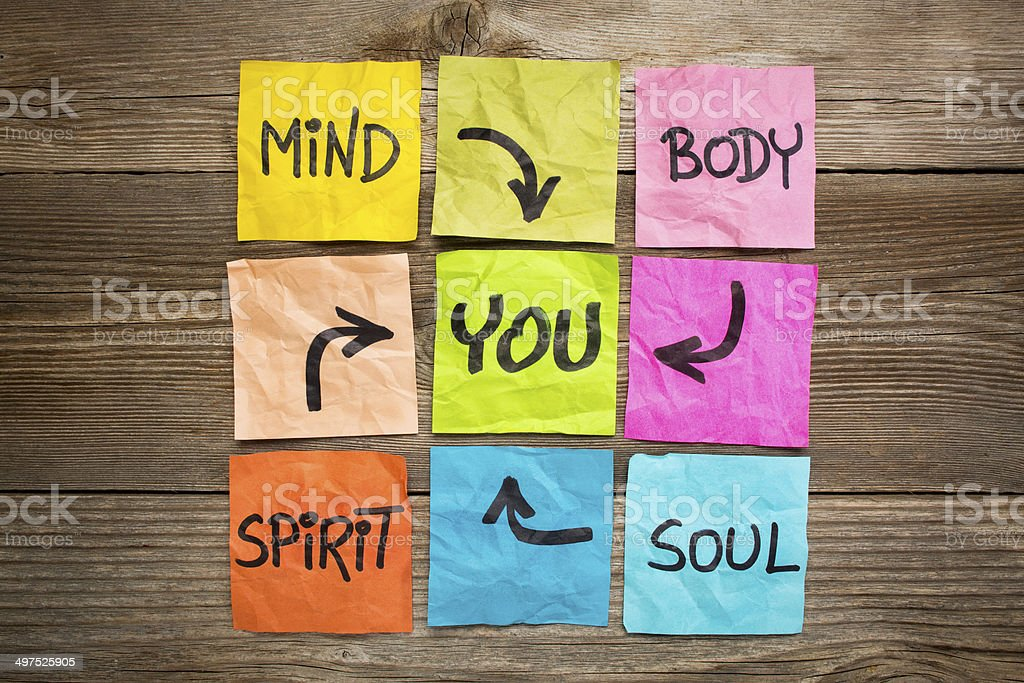 mind, body, spirit, soul and you stock photo
