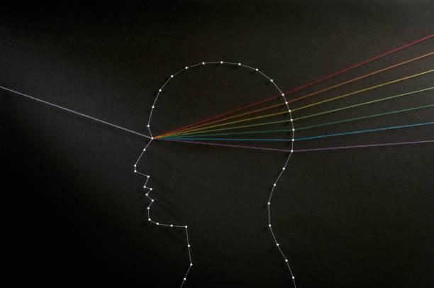 geest prisma. input output concept. - lichtbreking stockfoto's en -beelden