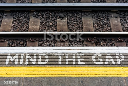 London, UK - The edge of a London Underground station platform, with the warning 'Mind The Gap', to warn passengers to take care when entering and exiting trains from the platform.