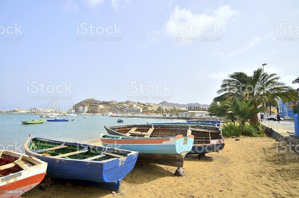 Mindelo Beached Rowboats stock photo