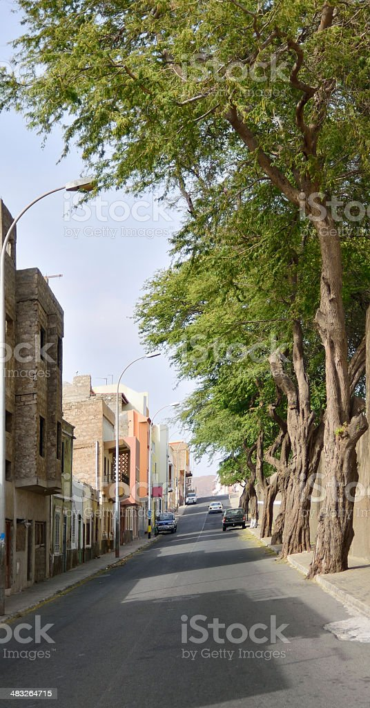 Mindelo City Street stock photo