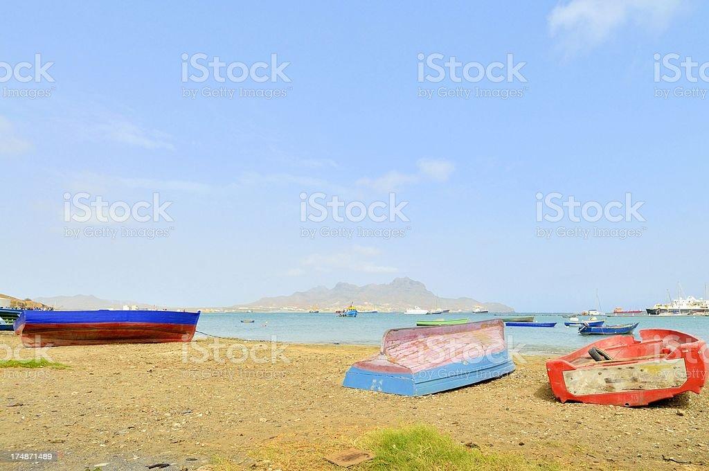 Mindelo Fishing Boats On Beach stock photo