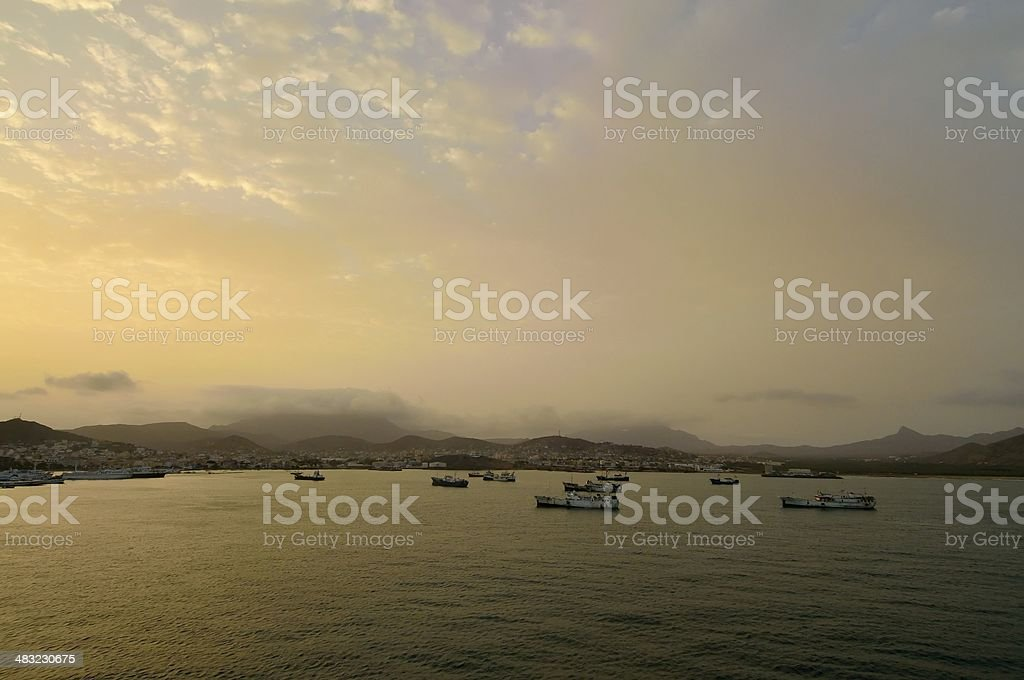 Mindelo Harbor At Sunrise stock photo