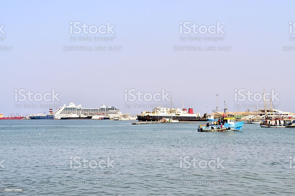 Mindelo Harbor Fishing Boats stock photo