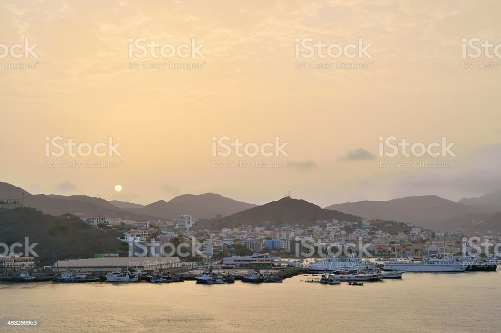 Mindelo Harbor Sunrise stock photo