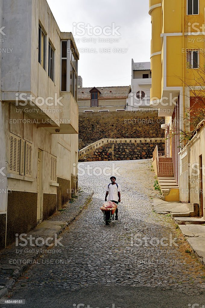 Mindelo Man Going To Market stock photo