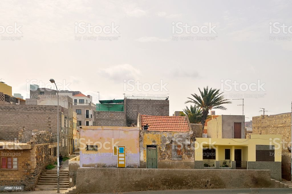 Mindelo Residential Street Scene stock photo