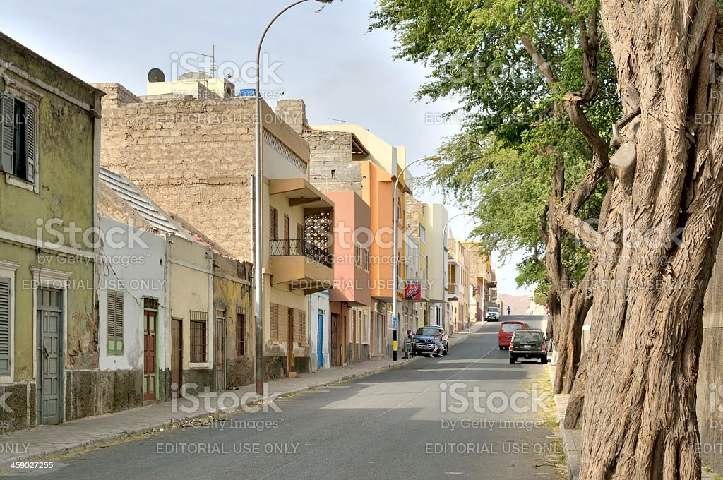 Mindelo Urban Street stock photo