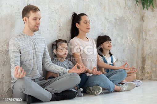 istock Mindful calm happy healthy family practicing breathing yoga exercises. 1197547530