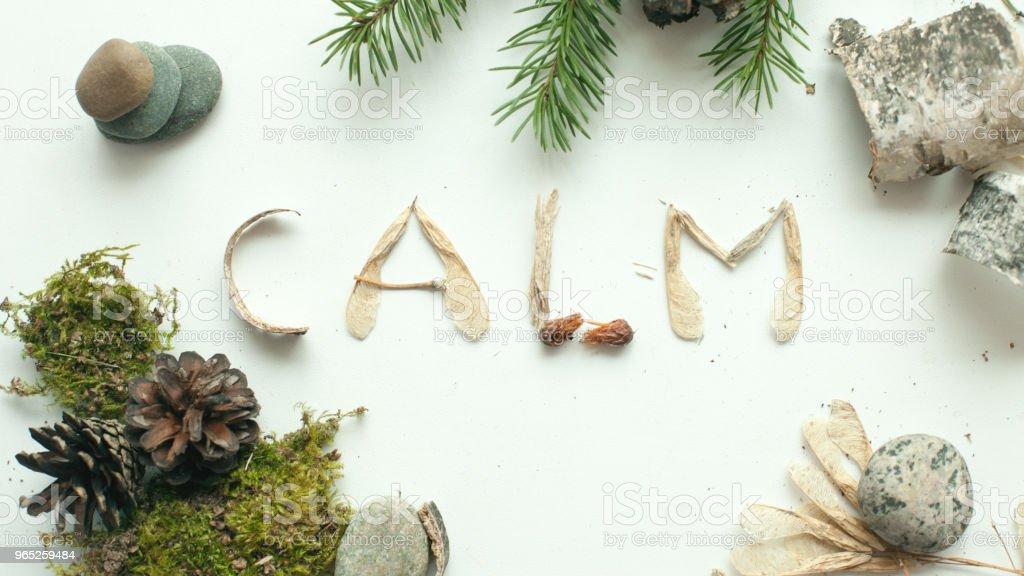 mindfulness calmness unplug concept, word calm from forest natural material - Zbiór zdjęć royalty-free (Botanika)