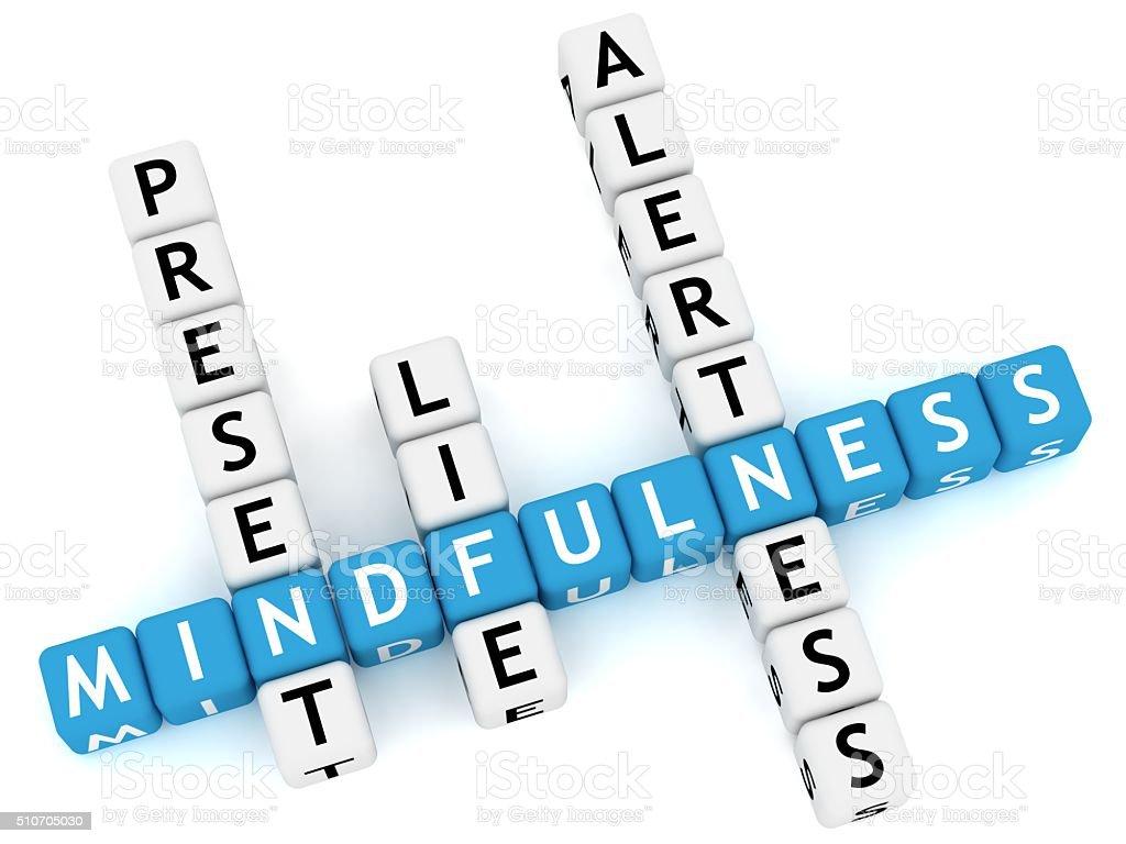 Mindfulness crossword stock photo